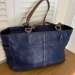 Coach Navy Pebble Leather Tote